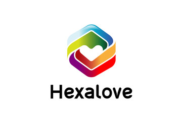 Creative Hexagonal Abstract Heat Logo Design Illustration