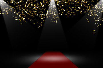 roter teppich, goldenes konfetti, scheinwerfer, festlicher hintergrund