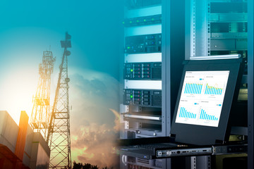 Management monitor with charts on screen in data center and telecommunication tower on blue sky with cloud, double exposure.