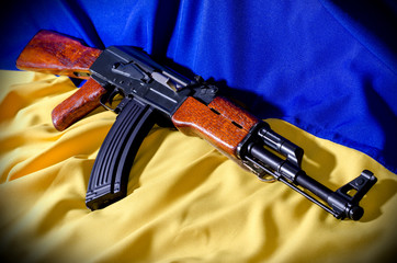 Flag of Ukraine with rifle