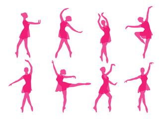 ballerina dancing silhouette set