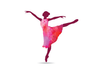 graceful ballerina with water color dress