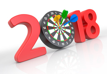 New year 2018 with darts board.