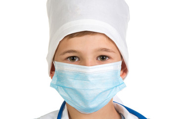 Doctor's portrait in the mask close up. Extremely accurate quality picture on the white background