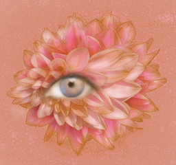 Garden Poster Surrealism Eye of Petals