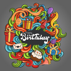 set of doodle elements with pattern on birthday theme, vector illustration