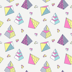 Abstract Memphis Style Seamless Pattern with Geometric Shapes and Pyramid. Vintage 80-90s Fashion Trendy Composition for Wallpaper, Poster, Banners, Cover Design. Vector illustration