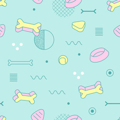 Abstract Memphis Style Seamless Pattern with Geometric Shapes and Dog Food. Vintage 80-90s Fashion Trendy Composition for Wallpaper, Poster, Banners, Cover Design. Vector illustration