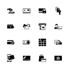 Cards icons - Expand to any size - Change to any colour. Flat Vector Icons - Black Illustration on White Background.