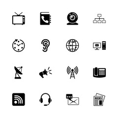 Communication icons - Expand to any size - Change to any colour. Flat Vector Icons - Black Illustration on White Background.