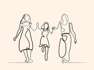 Continuous line drawing. Family with mother, grandmother and girl walking. Vector illustration