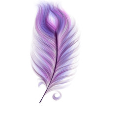 Hand drawn colorful pink and violet magical feather on white background, isolated cartoon illustration painted by pencil and watercolor, high quality