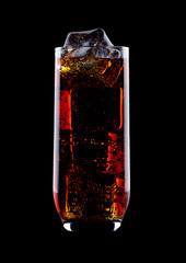 Glass of cold cola soda drink with ice cubes