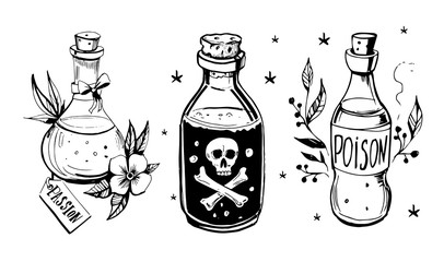 Bottles with potions.