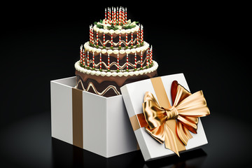 Birthday chocolate cake inside gift box, 3D rendering