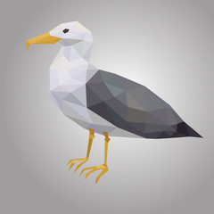 Poster Geometric animals Seagull low poly. Low polygonal seabird. Animal with white hull and black wings Vector illustration