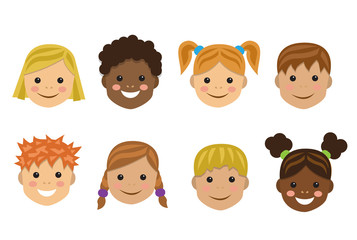 heads of children of different nationalities and races on a white background