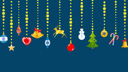 Set of Christmas symbols in flat style hanging on ropes of balls