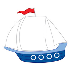 Vector Boat with Red Flag and White Sails