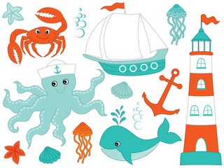 Vector Set with Marine Animals and Objects