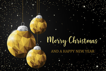 Wall Mural - Christmas balls new year card gold black vector background