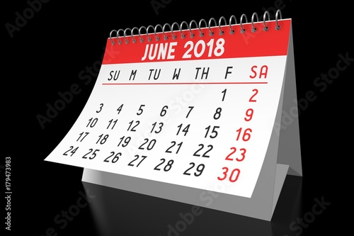 table calendar 2018 june