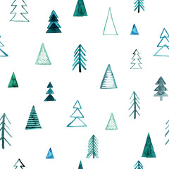 Seamless watercolor forest pattern. Green trees on white background. Abstract watercolor illustration. Can be used for pattern fills, wallpapers,texture of fabric, surface textures.