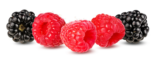Wall Mural - Raspberry isolated on white