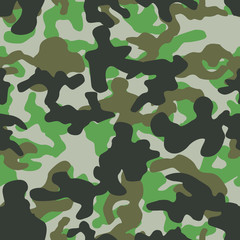 Seamless basic green gray brown and black camo pattern vector