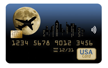 Air miles, air rewards, travel rewards credit card with airplane design.