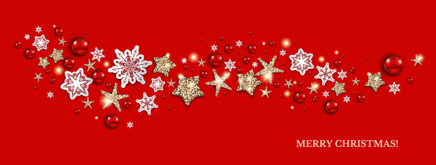 Holiday red decor banner