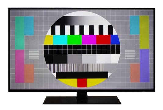 No Signal TV Test. Lcd Monitor. Flat Screen TV. Television Colored Bars Signal. SMPTE bars monoscope