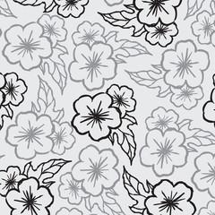 Printed roller blinds Floral black and white floral pattern