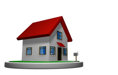 3D model of a small house with red roof on a white disk, with a mailbox in front. 3D render