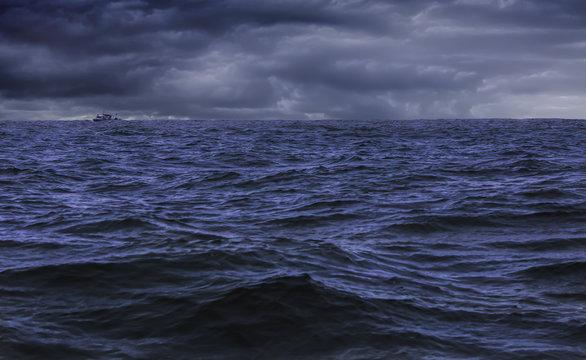 Fishing Boat in Pacific Ocean Storm
