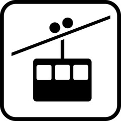 Funicular vector icon on white background. Tourist attraction or transport illustration.