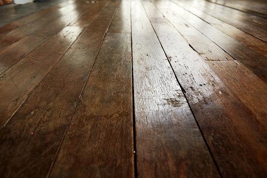 Low angle wooden floor