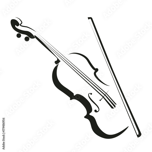 Stylized violin icon logo vector