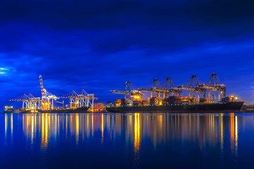 Fototapete - Container ship in import export and business logistic.By crane ,Trade Port , Shipping.cargo to harbor.
