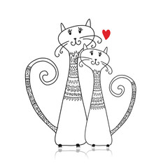 Couple of cats in cozy sweaters, sketch for your design