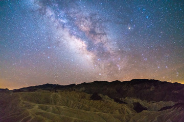 Milky way over Zabriskie point, death valley national park