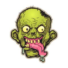 Zombie Head. Mascot, logo, sticker, print, avatar. Vector illustration, eps 10.