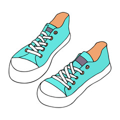Blue canvas shoes. Classic pair of shoes. Hand drawn artistic sketch.