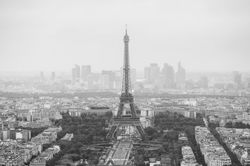 View of the streets of Paris from the heights. Travel through Europe. Attractions in France. Cloudy Paris. Clouds in the sky. Eiffel Tower