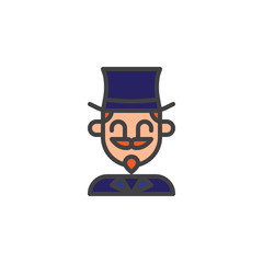Magician circus actor filled outline icon, line vector sign, linear colorful pictogram isolated on white. Symbol, logo illustration. Pixel perfect vector graphics