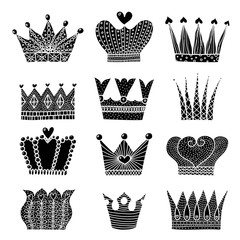 Black stickers with crowns. Cute set.