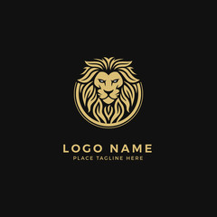 King Lion Head Logo Template, Strong Glare Lion Face. Golden Elegant Design Badge, Sticker, Icon, Emblem, Brand Identity with Circle Ring Frame