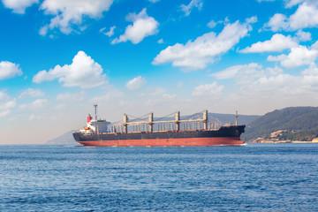 Container ship in Dardanelles strait, Turkey