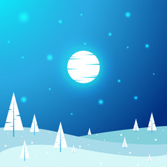 Beautiful Christmas Night Winter Landscape - Flat, New Year, Vector Illustration