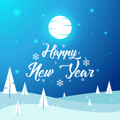 Happy New Year - Beautiful Winter Landscape, Flat, New Year, Vector Illustration